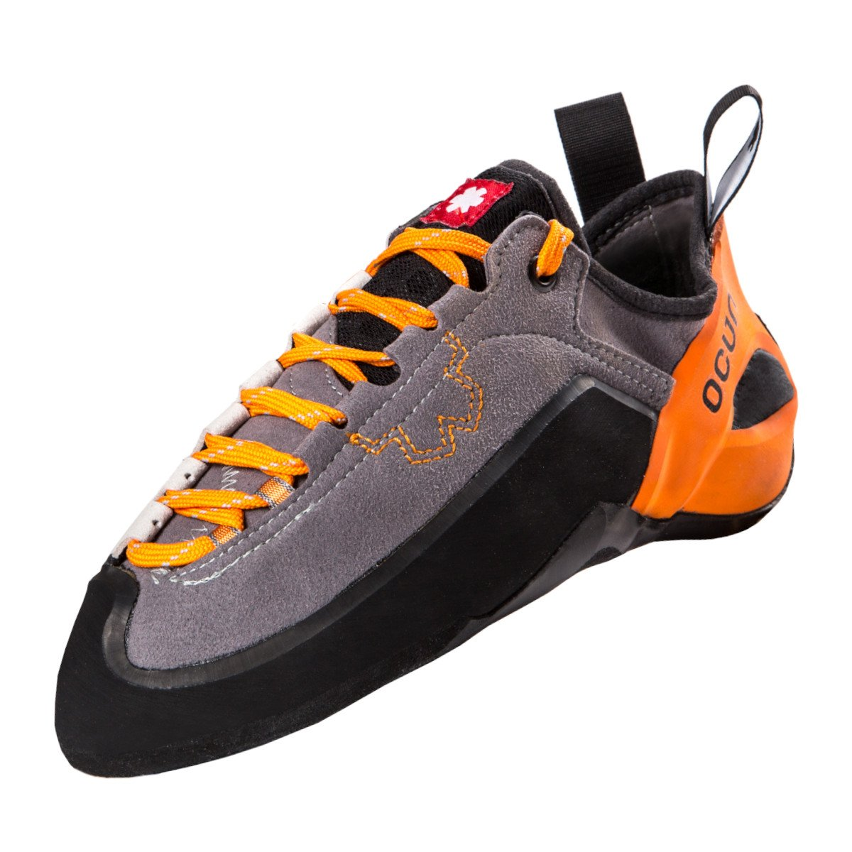 Ocun Jett LU climbing shoe, in black and grey colours with orange laces and heel