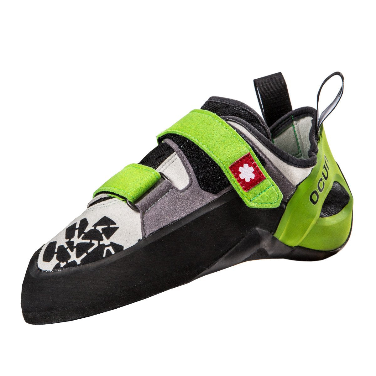 Ocun Jett QC climbing shoe, in black, grey and white colours with green straps