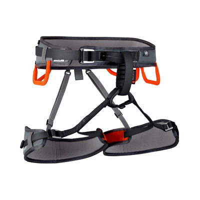Mammut Ophir 3 Slide Harness, front view in grey and orange colours