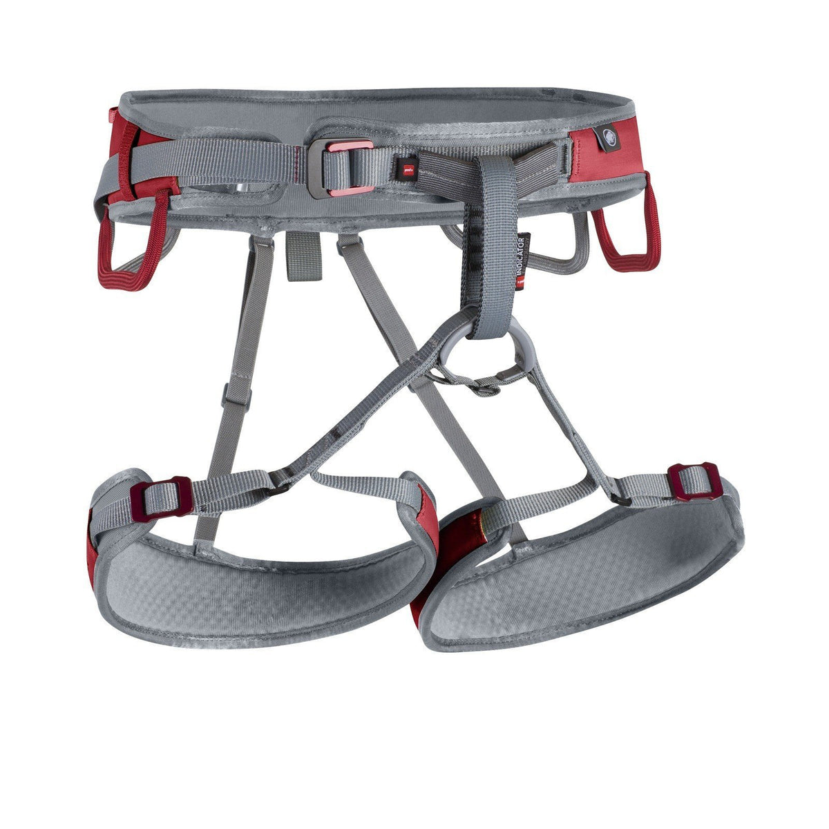 Mammut Ophir Speedfit Harness, front view, in grey and red colours