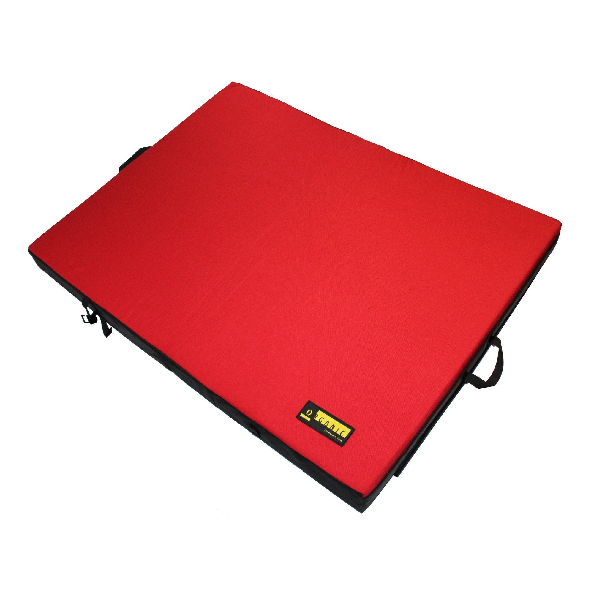 Organic Full Pad, bouldering crash pad shown laid lat in red colour
