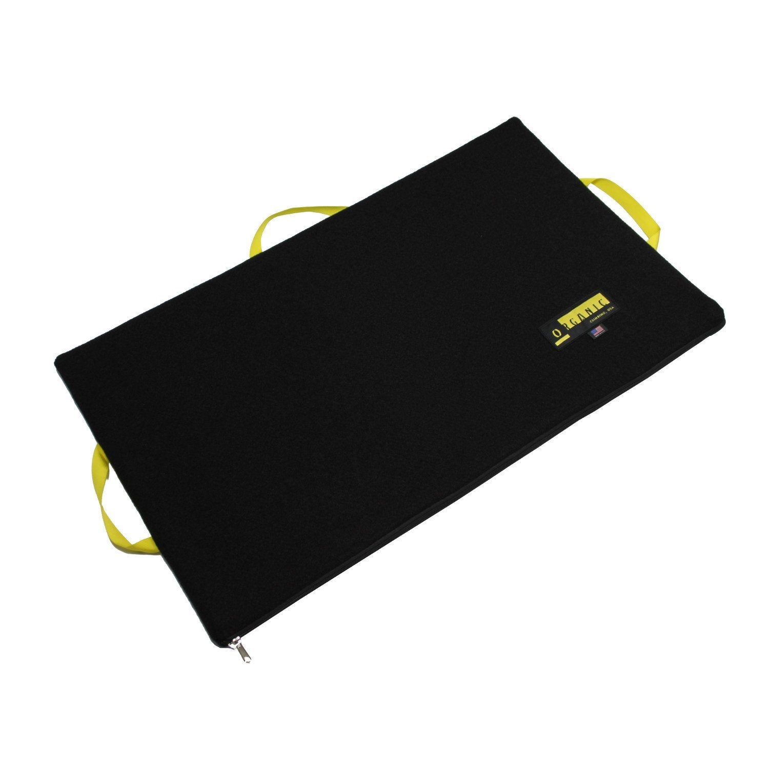 Organic Slider pad, bouldering crash pad shown open laid flat, in black colour