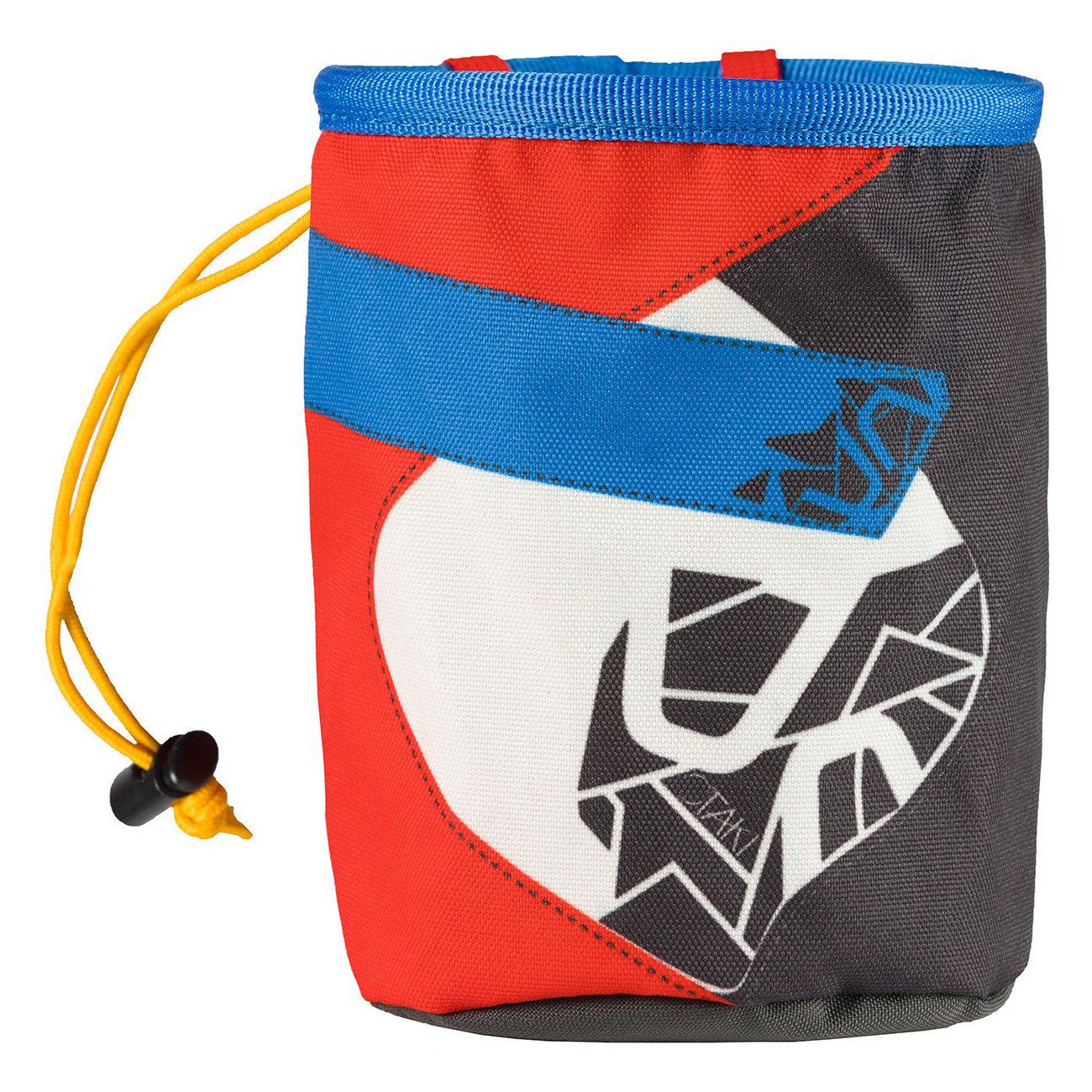 La Sportiva Otaki Chalk Bag, front view in black, white, red and blue colours