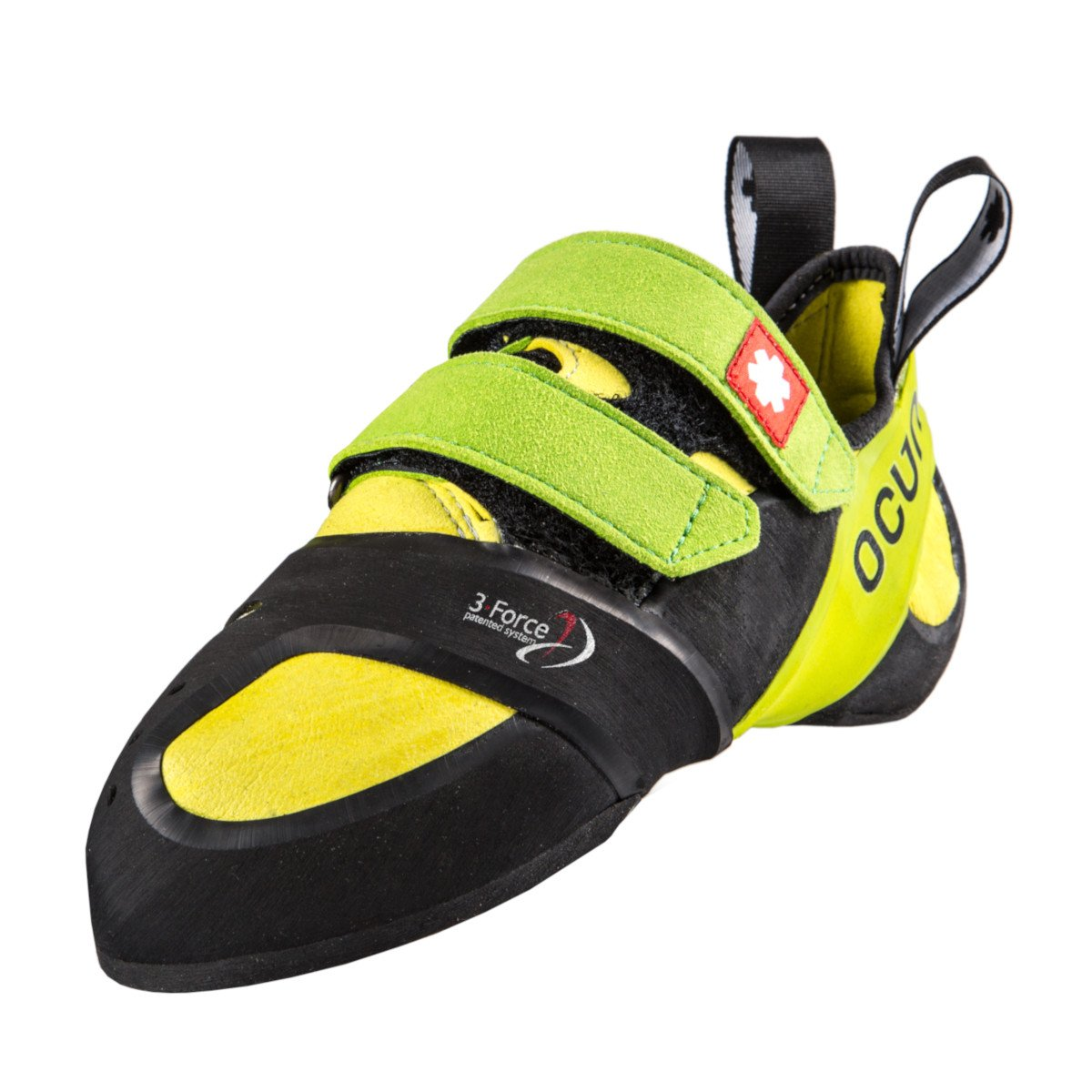 Ocun Ozone Plus climbing shoe, in black, green and yellow colours