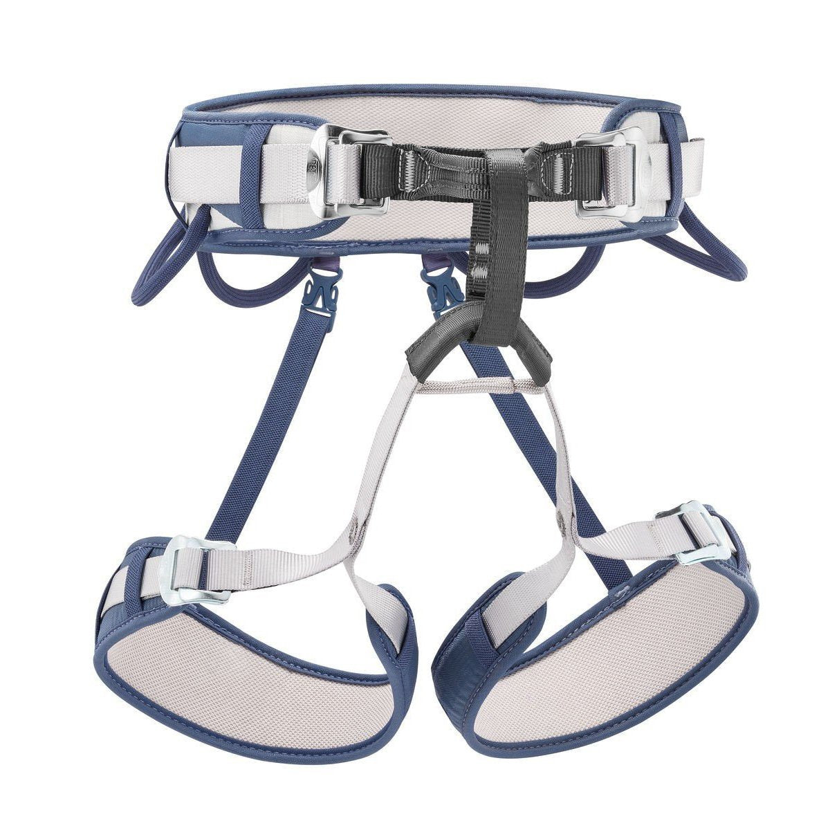 Petzl Corax Harness, front view, in blue, grey and black colours