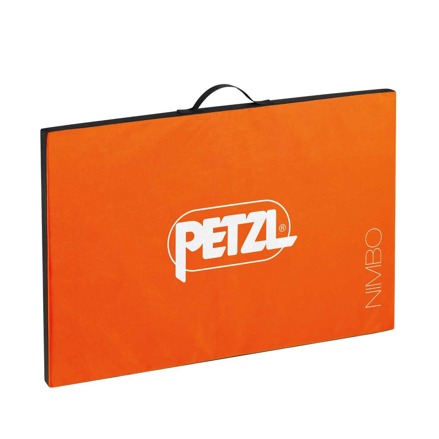 Petzl Nimbo bouldering crash pad, shown open in orange colour