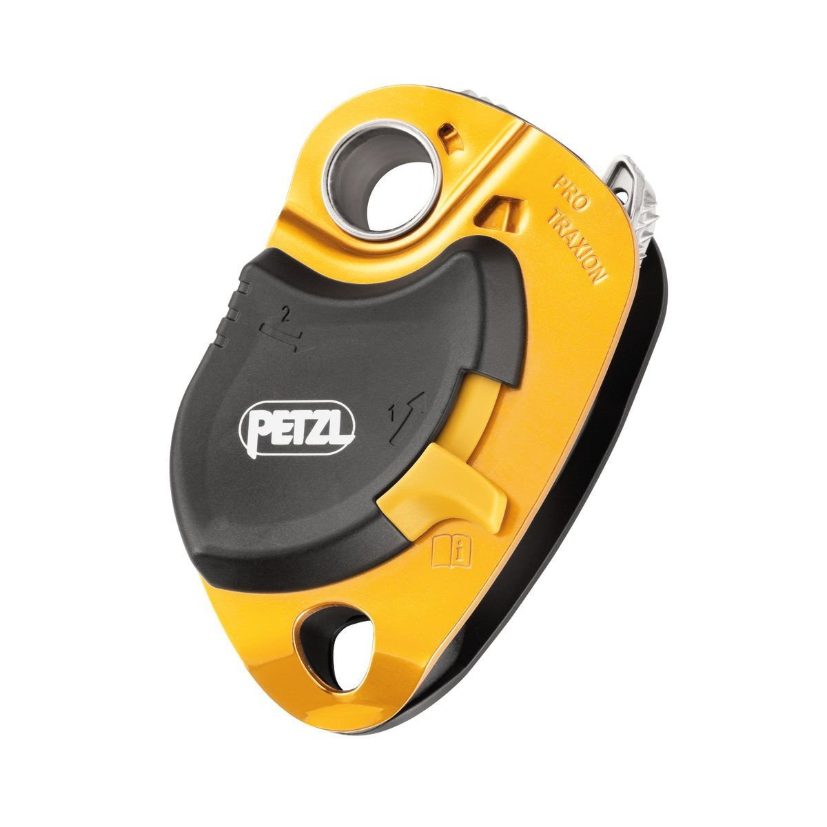Petzl Pro Traxion pulley, front/side view in gold and black colours