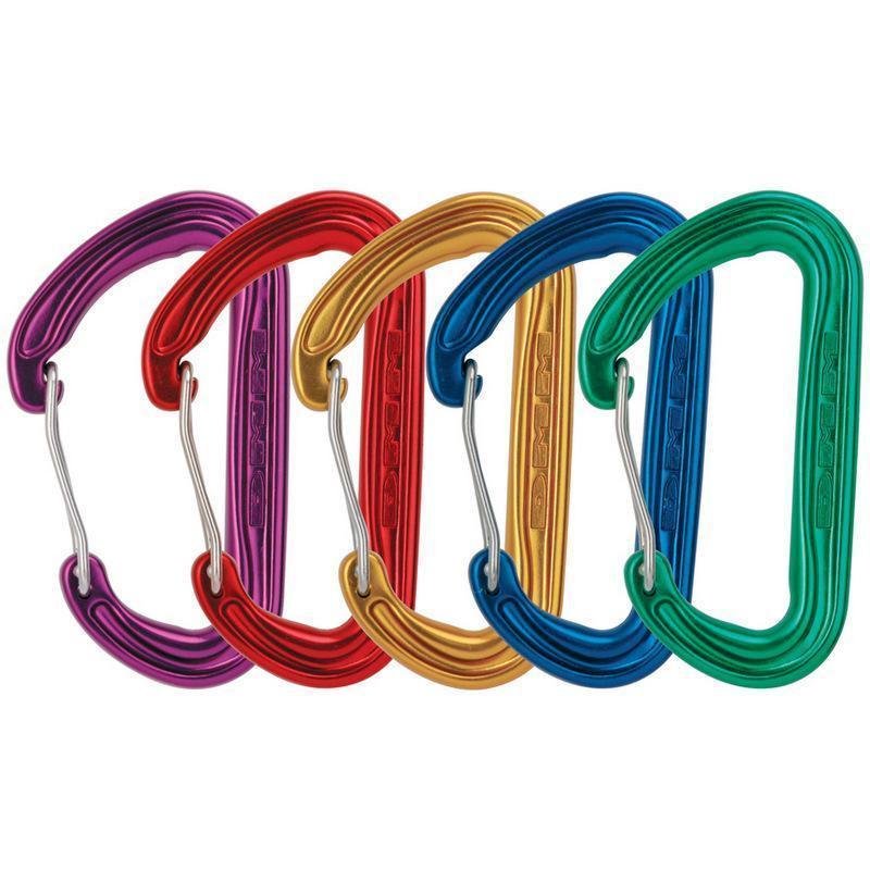 5 multi-coloured DMM Phantom climbing Carabiners, shown side by side