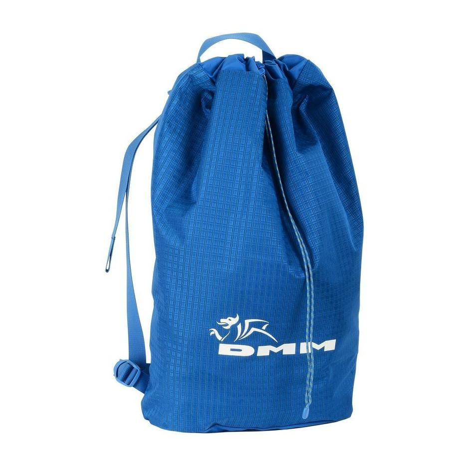 DMM Pitcher climbing Rope Bag rucksack, shown closed in blue colour