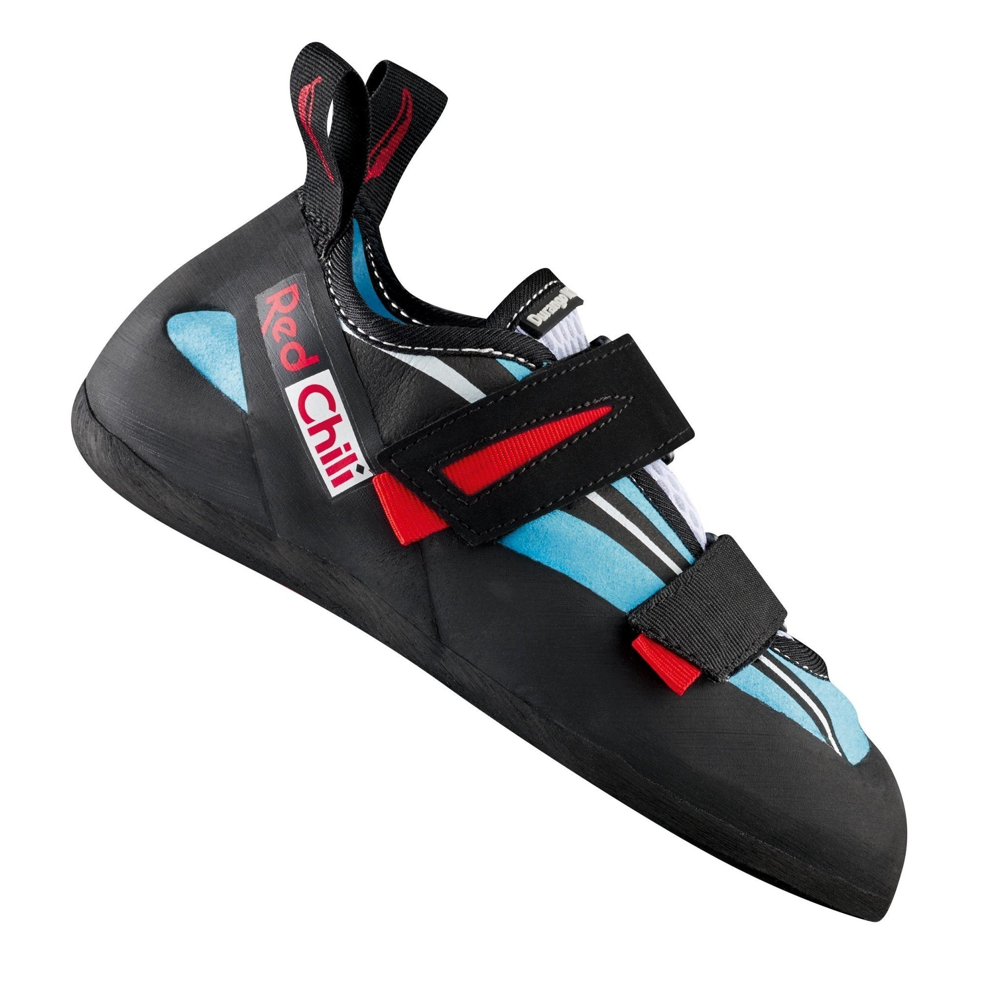 Red Chili Durango VCR climbing shoe, in black, blue and red colours