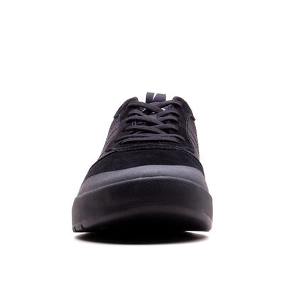 Front view of the Evolv Rebel approach shoe showing lacing and front rubber toe cap in black