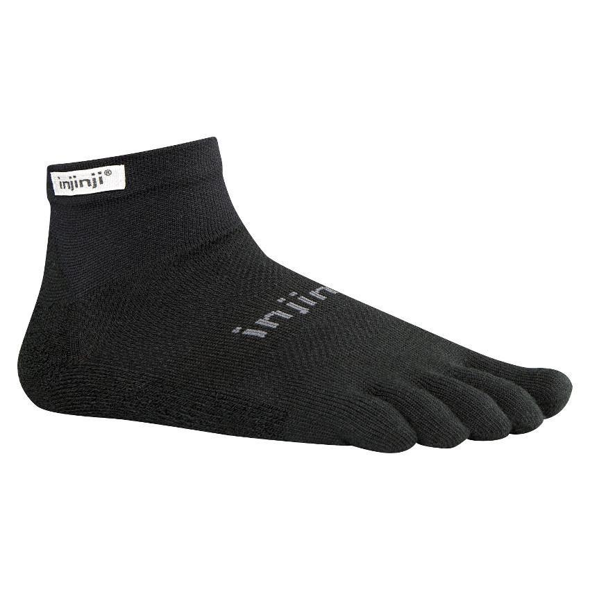 Injinji Run Original Weight Mini Crew running sock (Black)