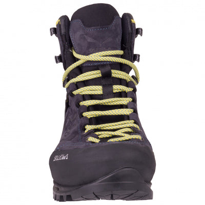 Salewa Rapace GTX Mountaineering Boot in Night Black, demonstrating toe box and lacing