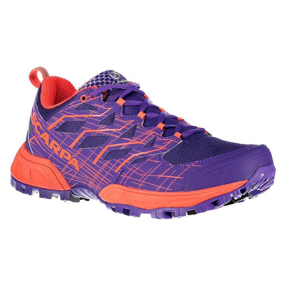 Scarpa Neutron 2 Womens running shoe, outer side view in Violet/Red colours