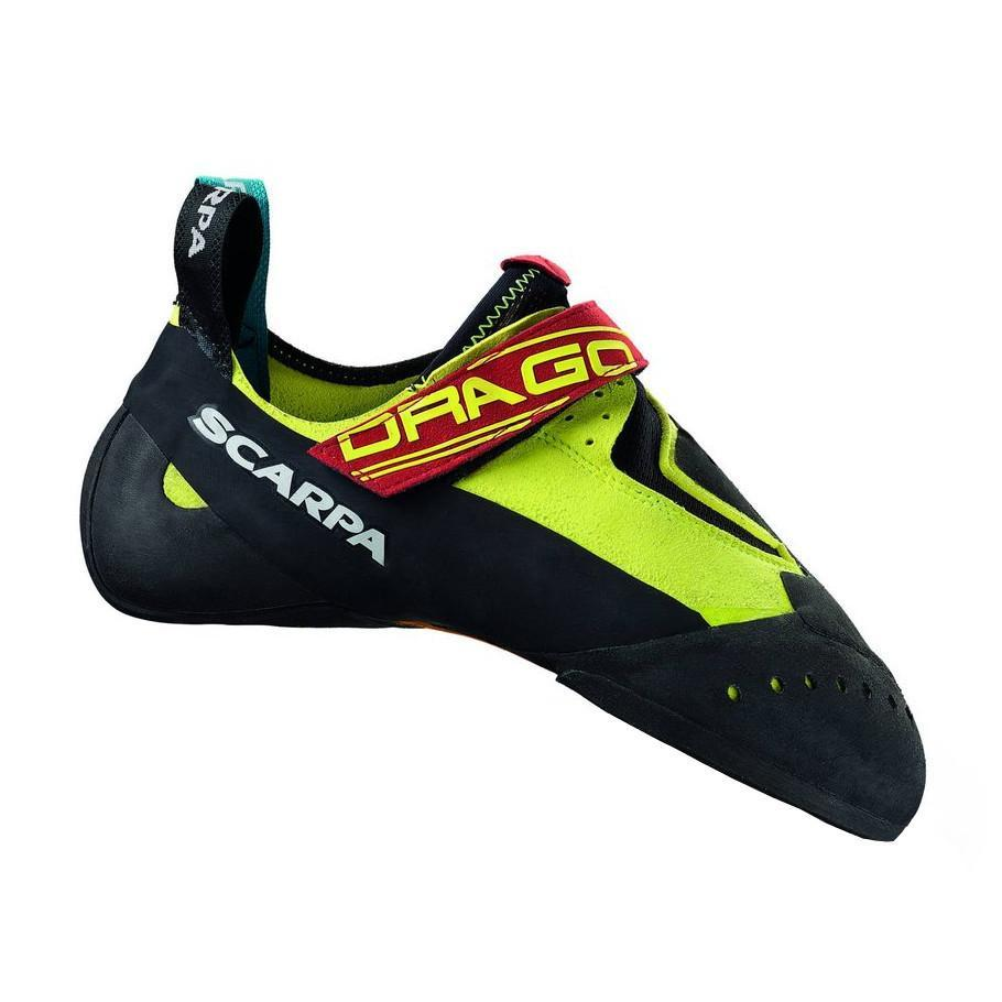 Scarpa Drago climbing shoe, in black and green colours