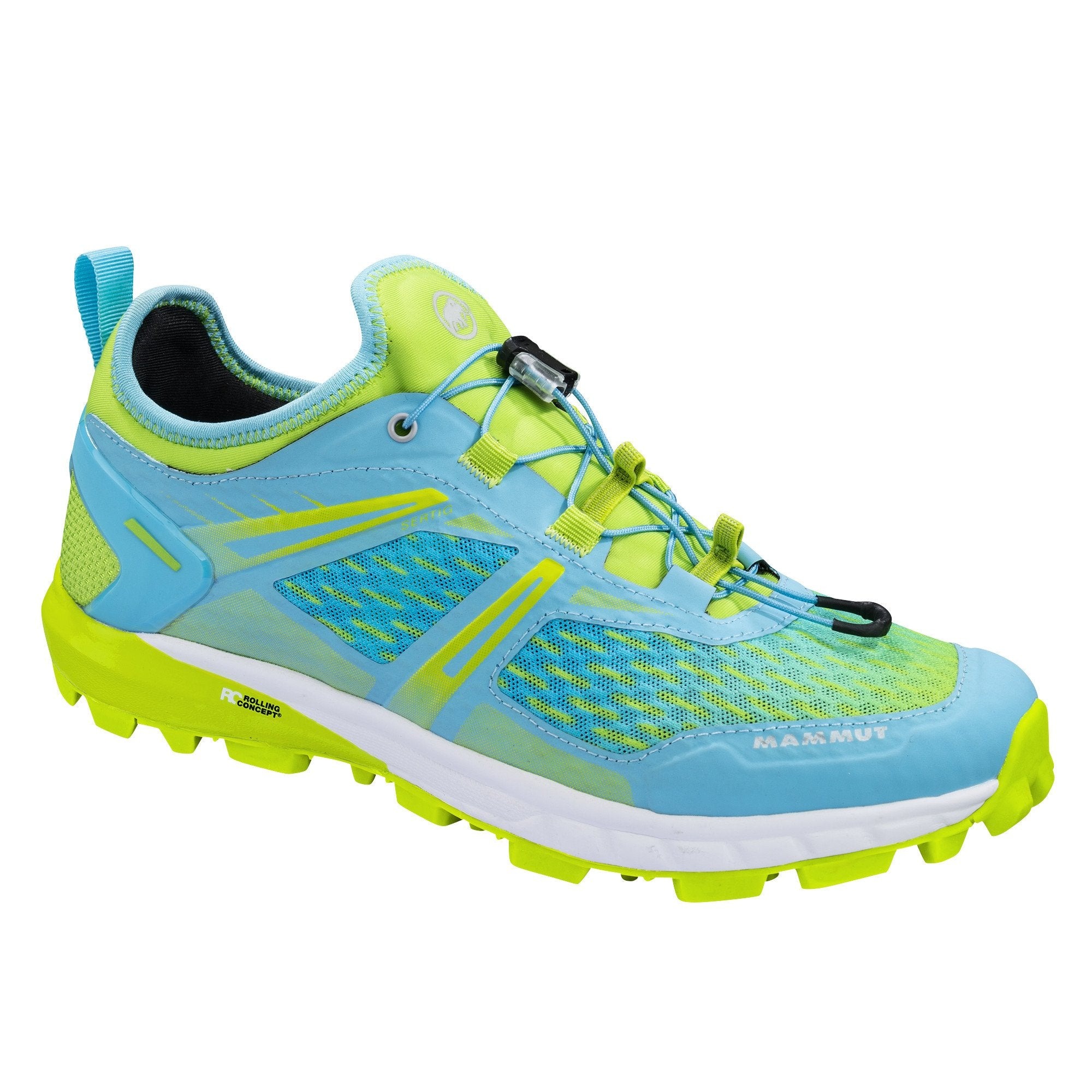 Mammut Sertig Low Womens running shoe, outer side view in green and blue colours