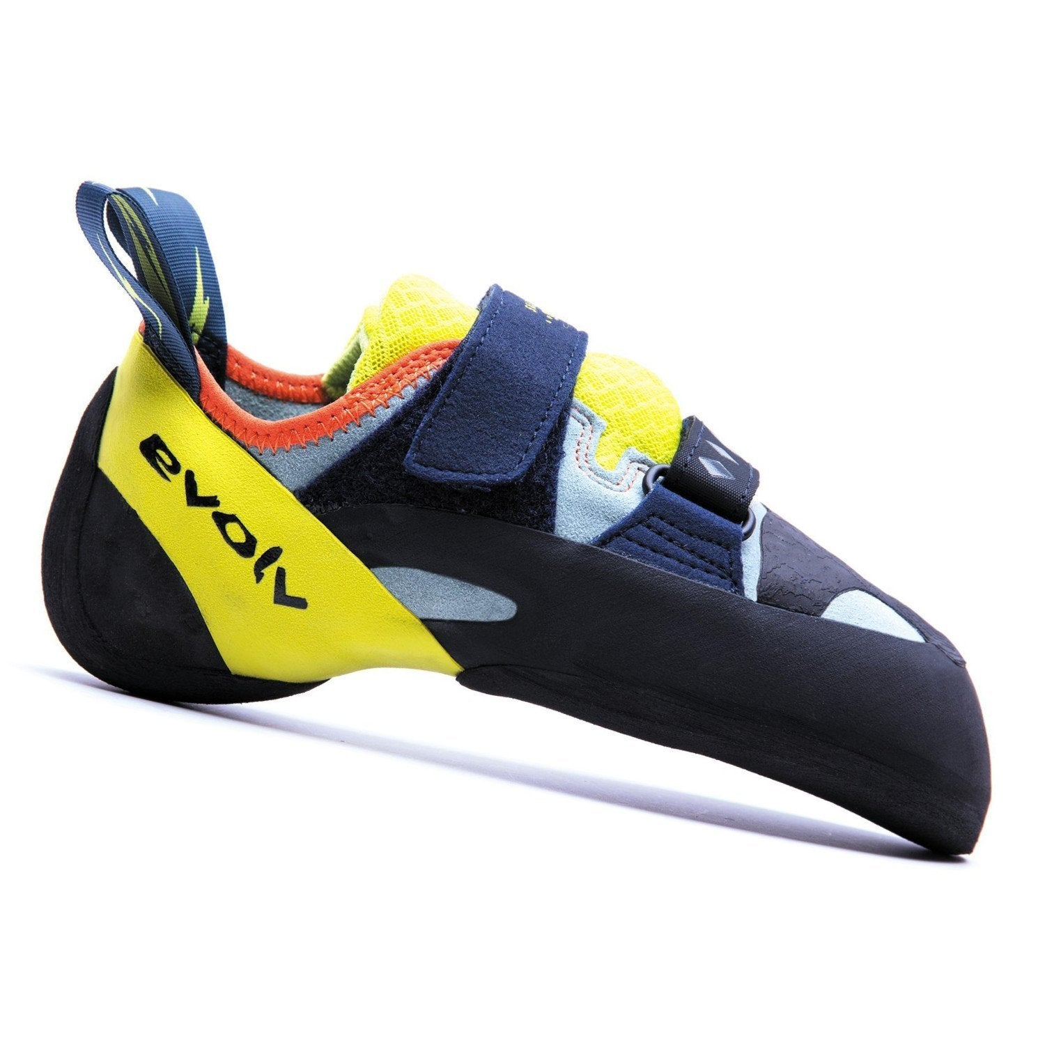 Evolv Shakra climbing shoe, in black, grey and yellow colours