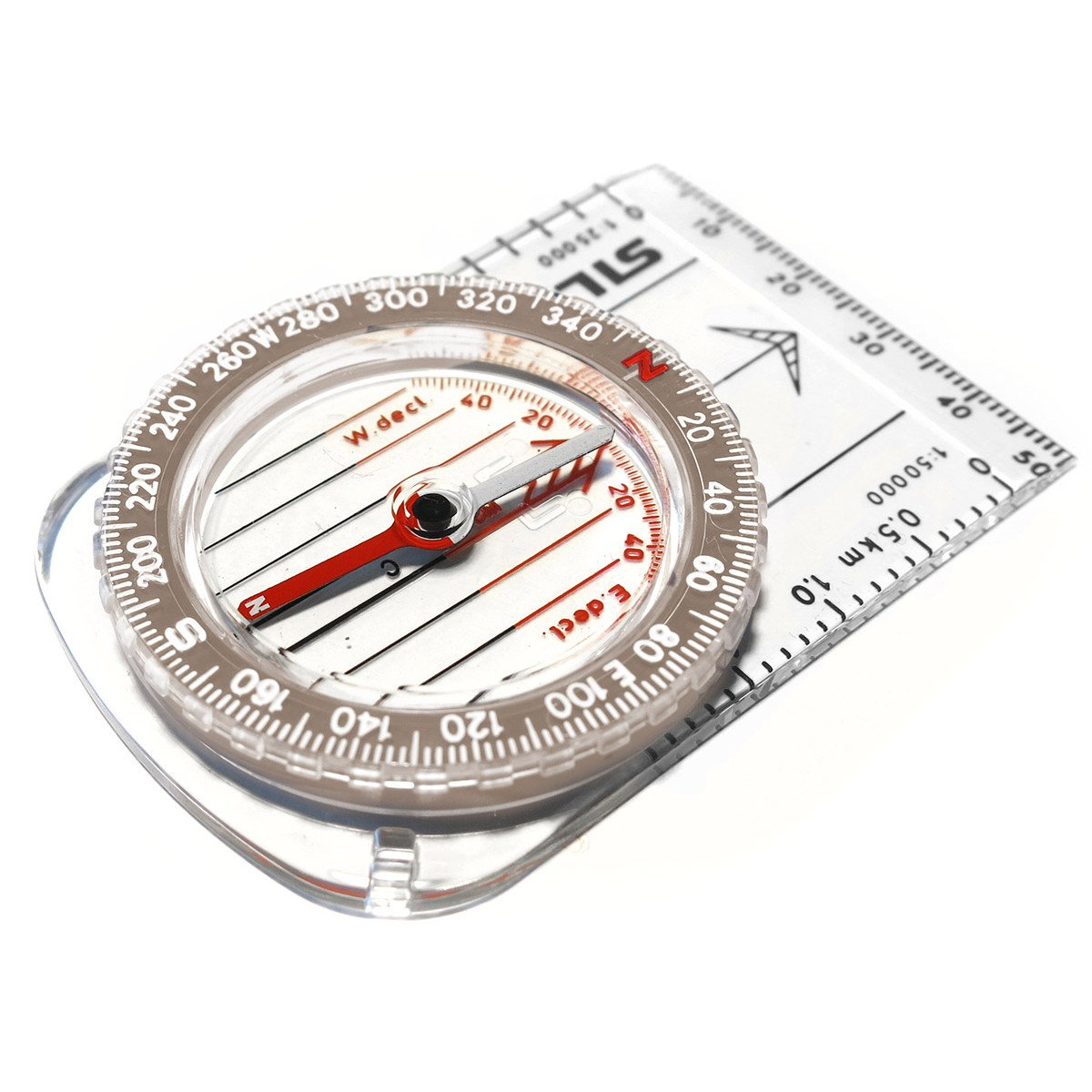 Silva Classic Compass, shown laid flat made from clear plastic material
