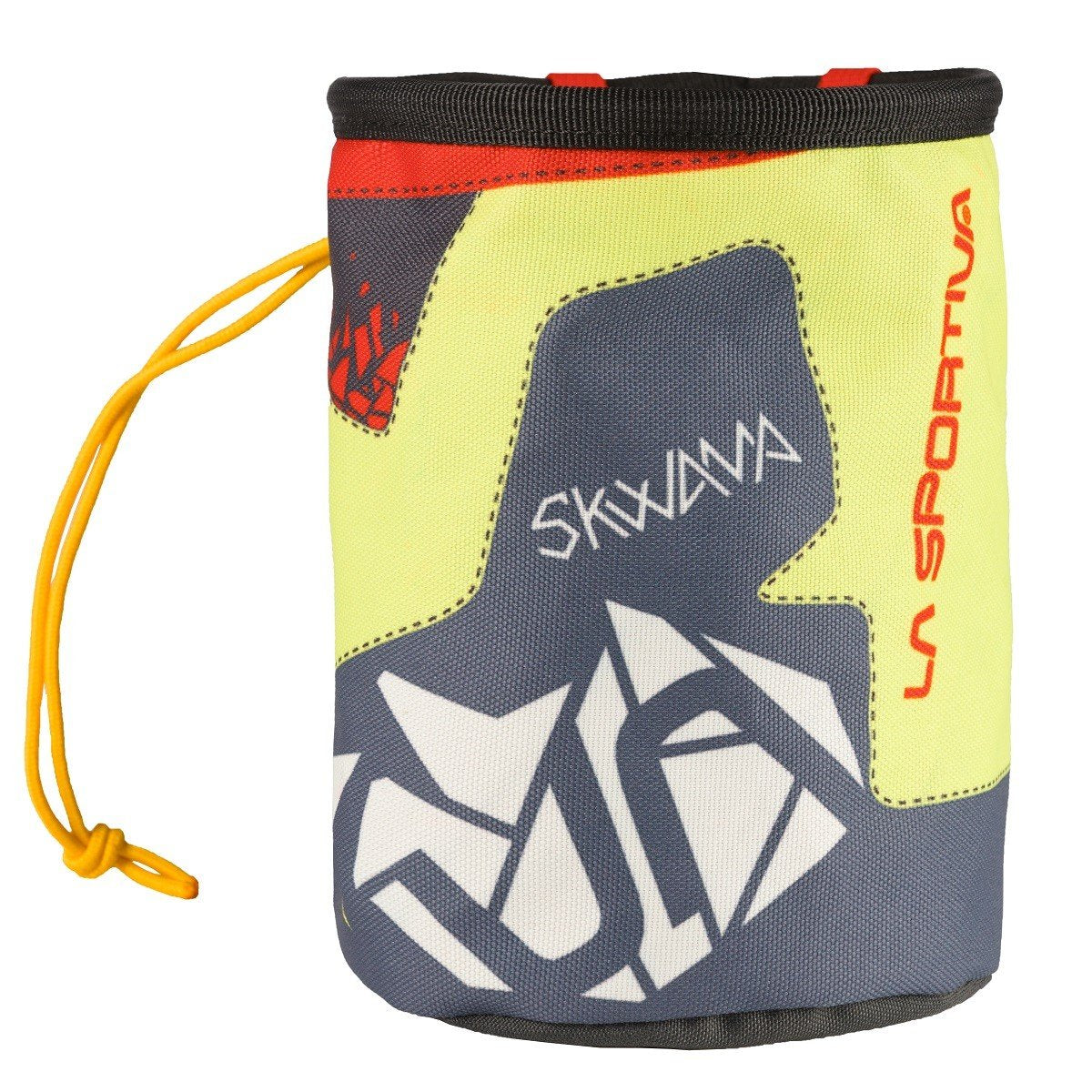 La Sportiva Skwama Chalk Bag, front view in grey, yellow, white and red