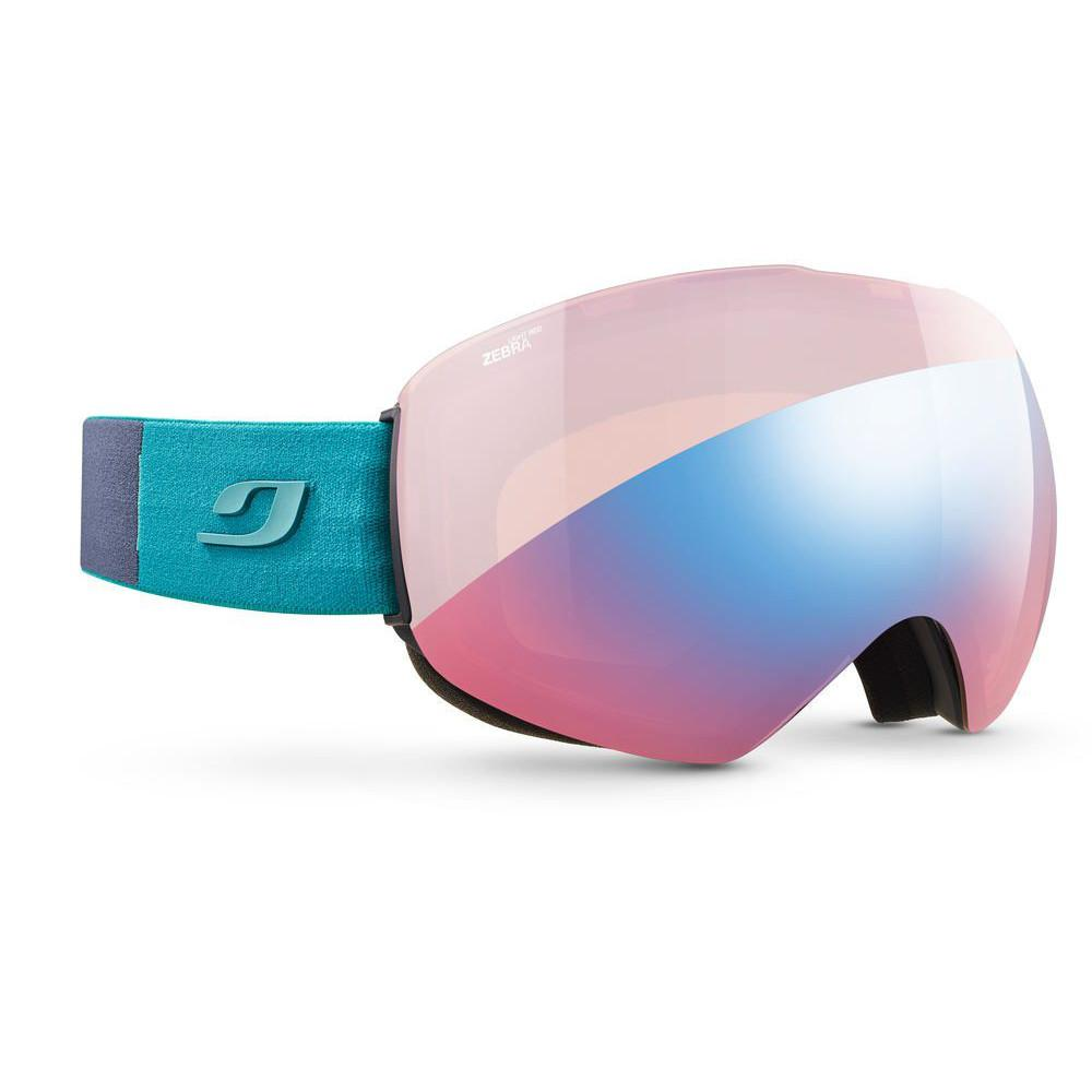 Julbo Skydome Zebra Light Red goggles, in pink/blue colours and a green strap