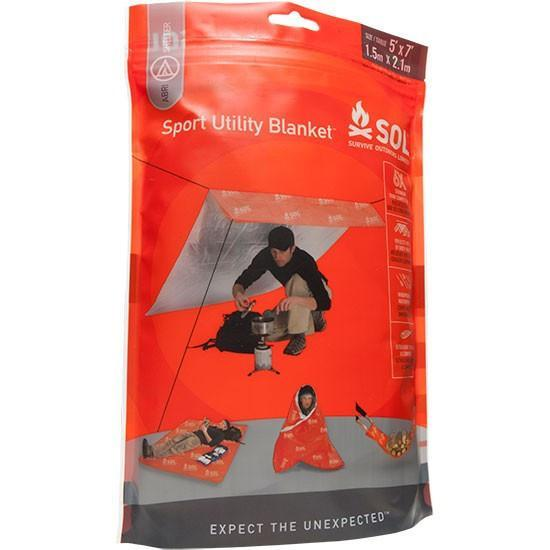 SOL Sports Utility Blanket, an emergency survival shelter shown in packaging