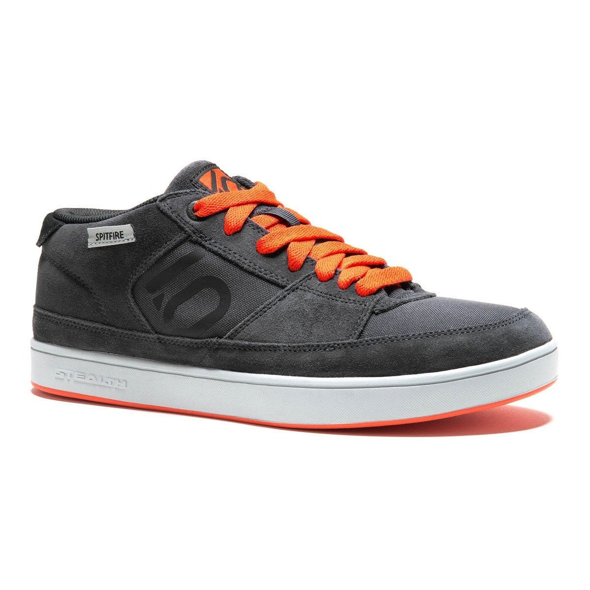 Five Ten Spitfire casual sports shoe, Dark Grey colour with orange laces, outer side view