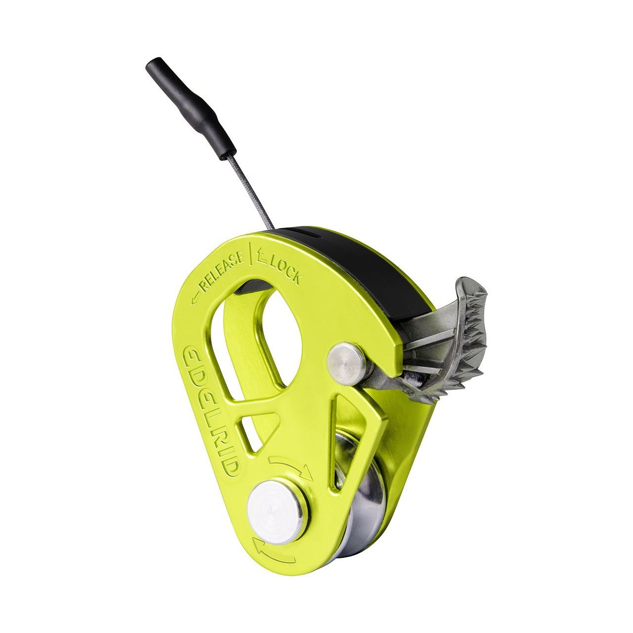 Edelrid Spoc pulley, front/side view in green colour