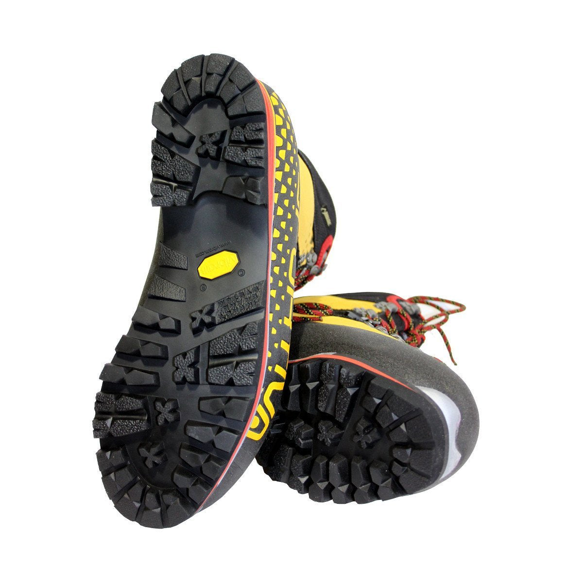Pair of La Sportiva Nepal Cube GTX Womens Mountaineering Boots, showing the soles