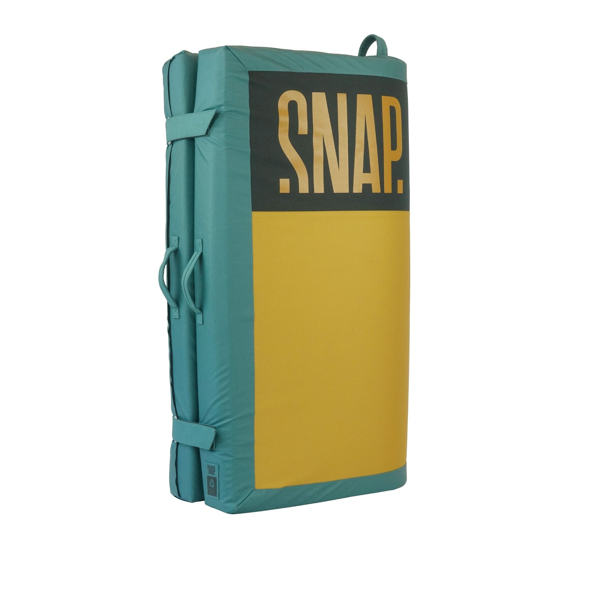 Snap Stamina crash pad shown fully closed and stood up in green and yellow colours