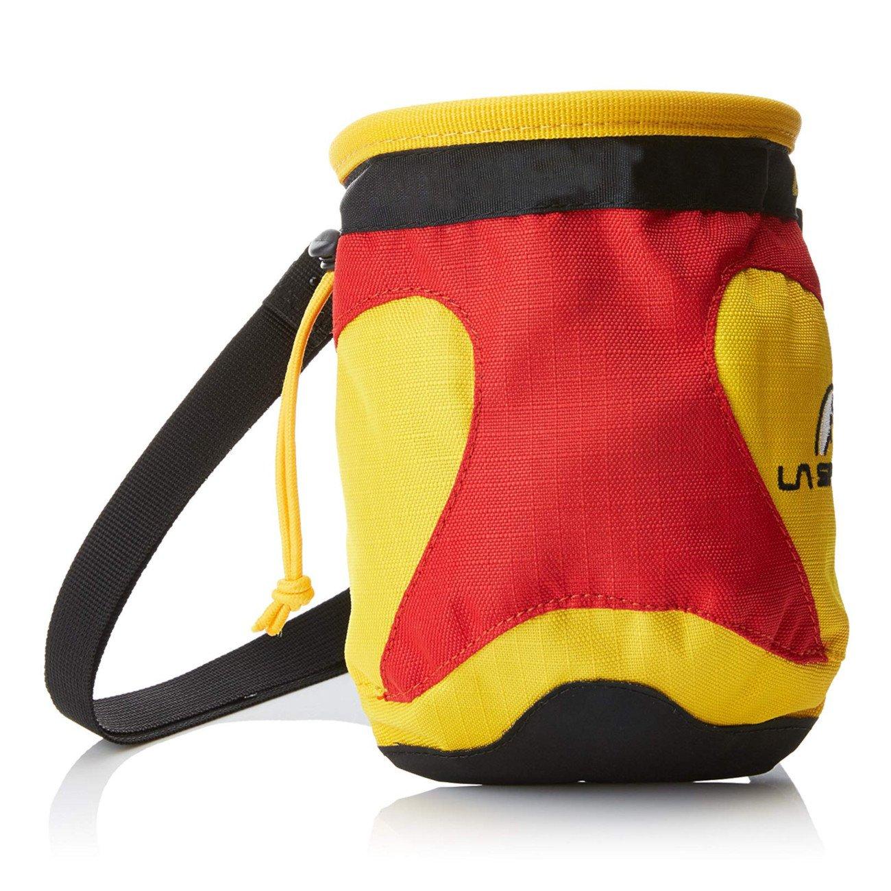 La Sportiva Testarossa Chalk Bag, front view in red/yellow and black colours