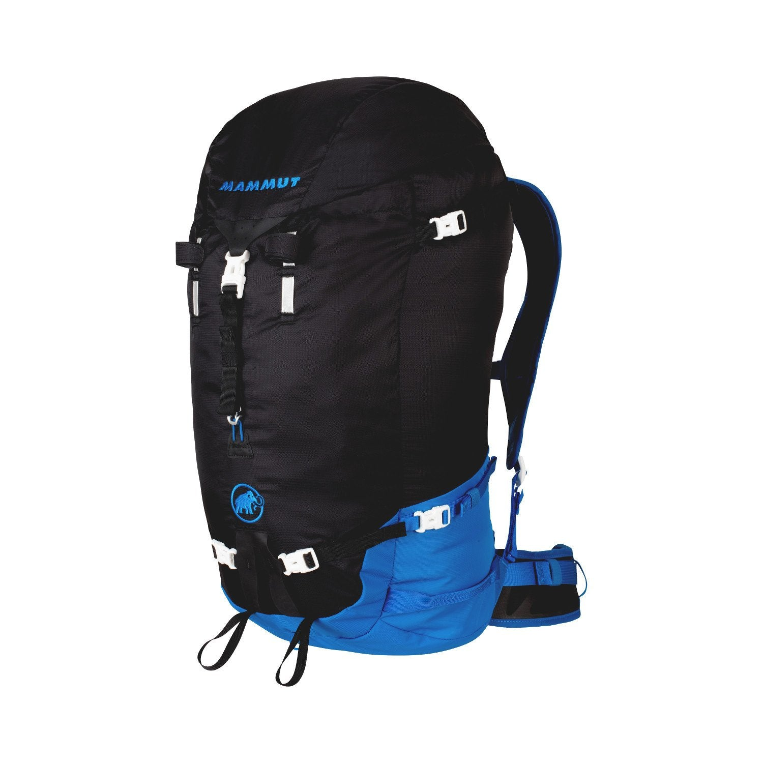 Mammut Trion Light 38L backpack, front/side view with lid on in Black/Blue colours