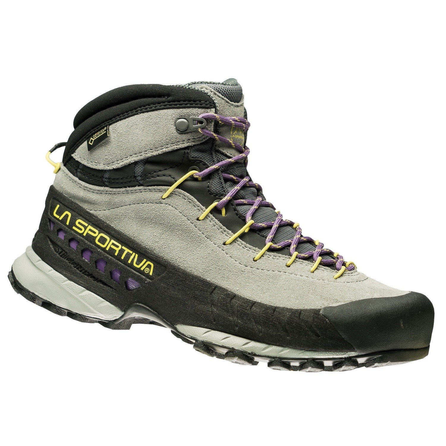 La Sportiva TX4 Mid Womens approach boot, front/side view in light grey and black colours