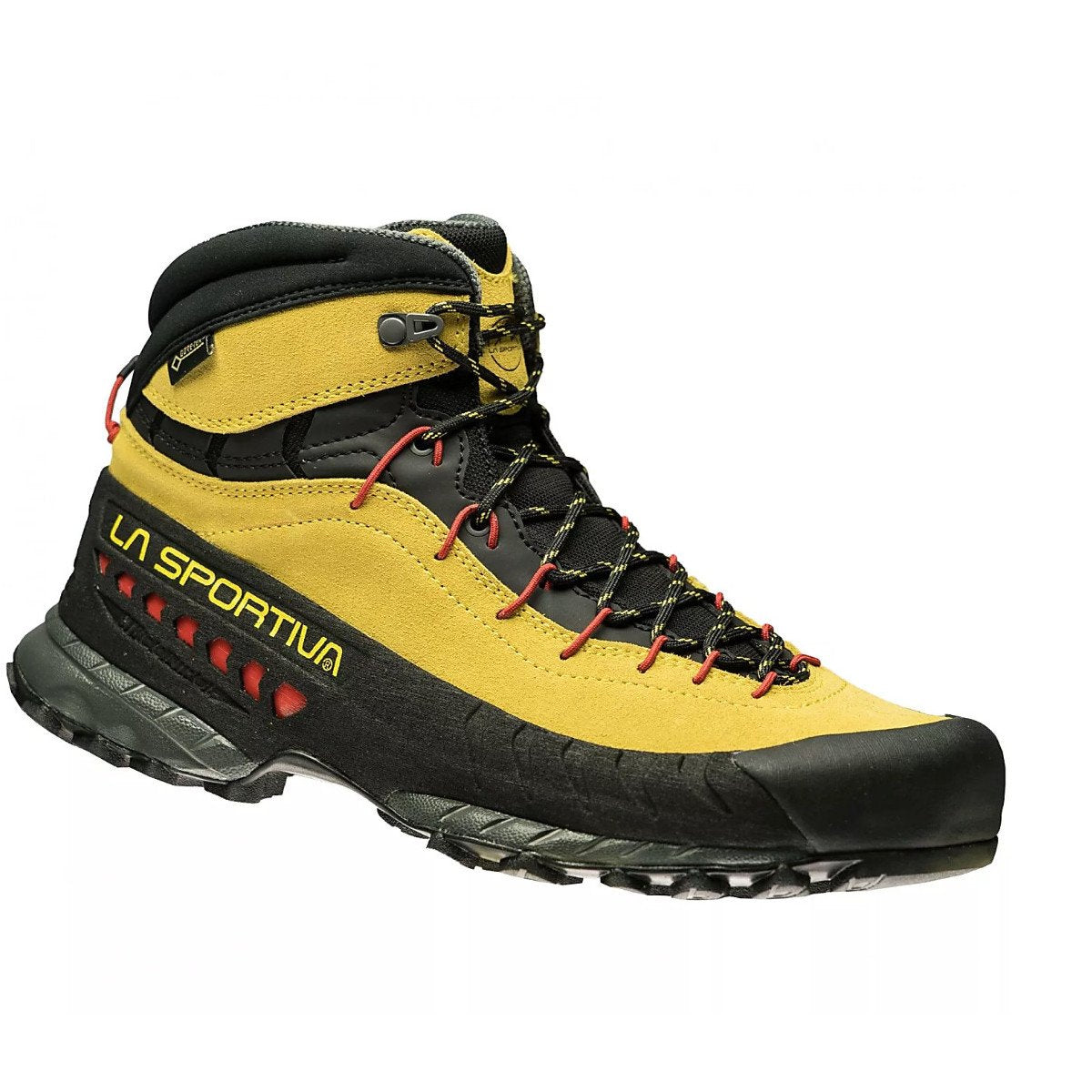 La Sportiva TX4 Mid GTX approach shoe, in black/yellow colours, outer side view