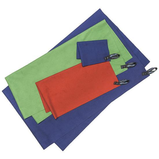 Packtowl UltraLite travel towels, all sizes and colours shown laid out on top of one another