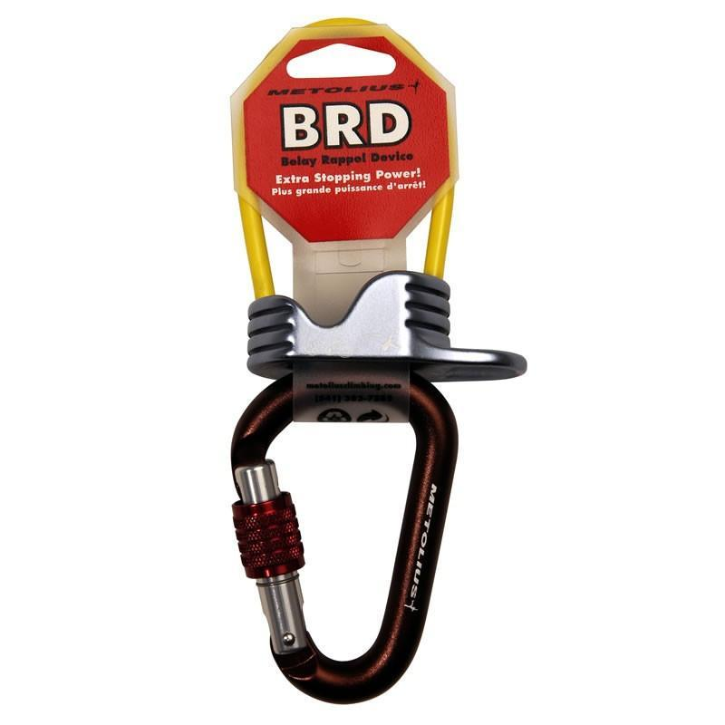 Metolius BRD and Element Belay Package, belay device in yellow colour with black carabiner