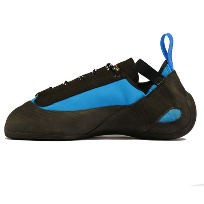 outer side view of the Unparallel Up Lace shoe in Blue and black with rear blue pull tab