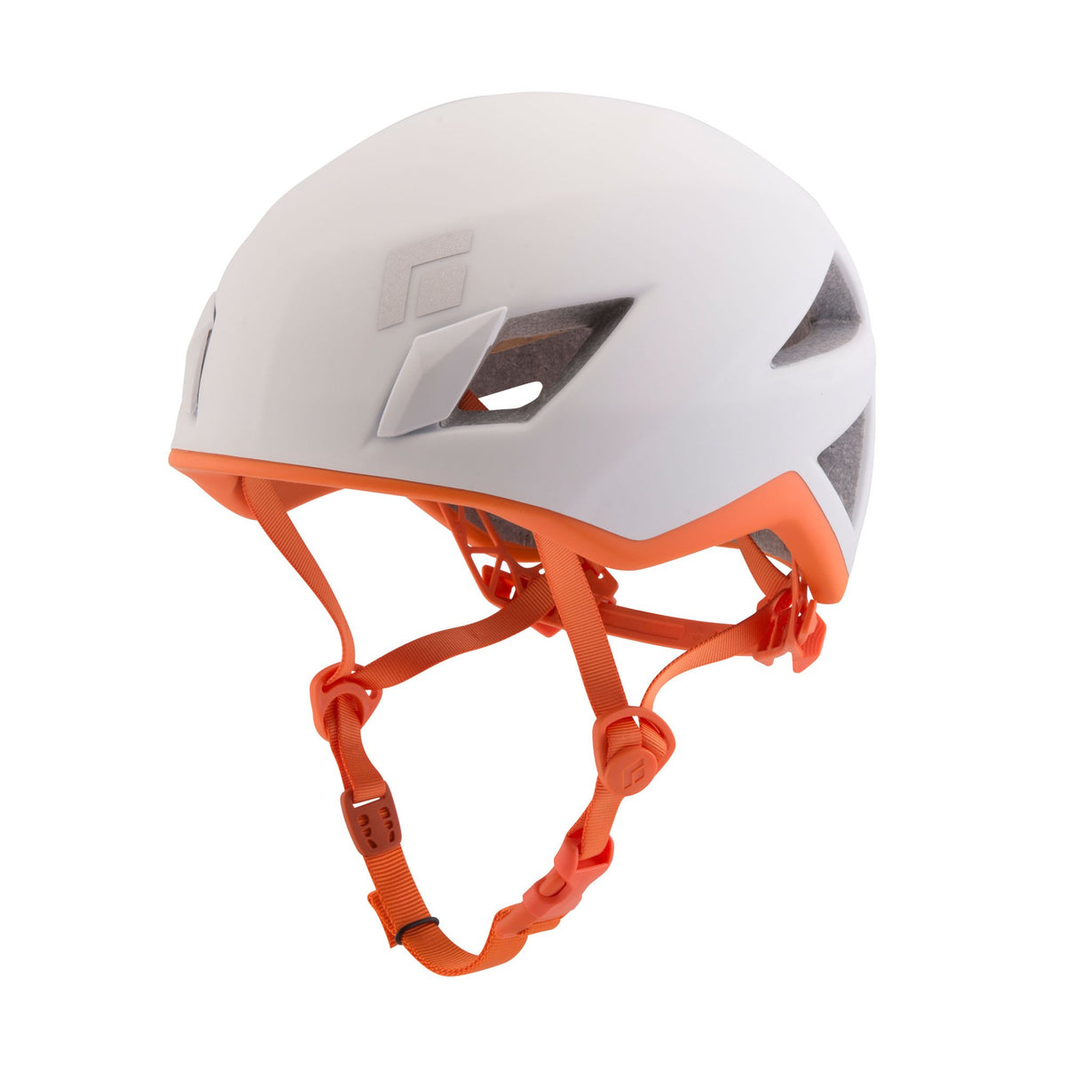 Black Diamond Vector women's climbing helmet, in white and orange colours