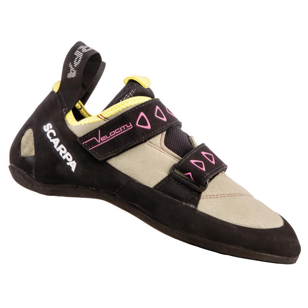 Scarpa Velocity V Womens climbing shoe, in black and cream colous