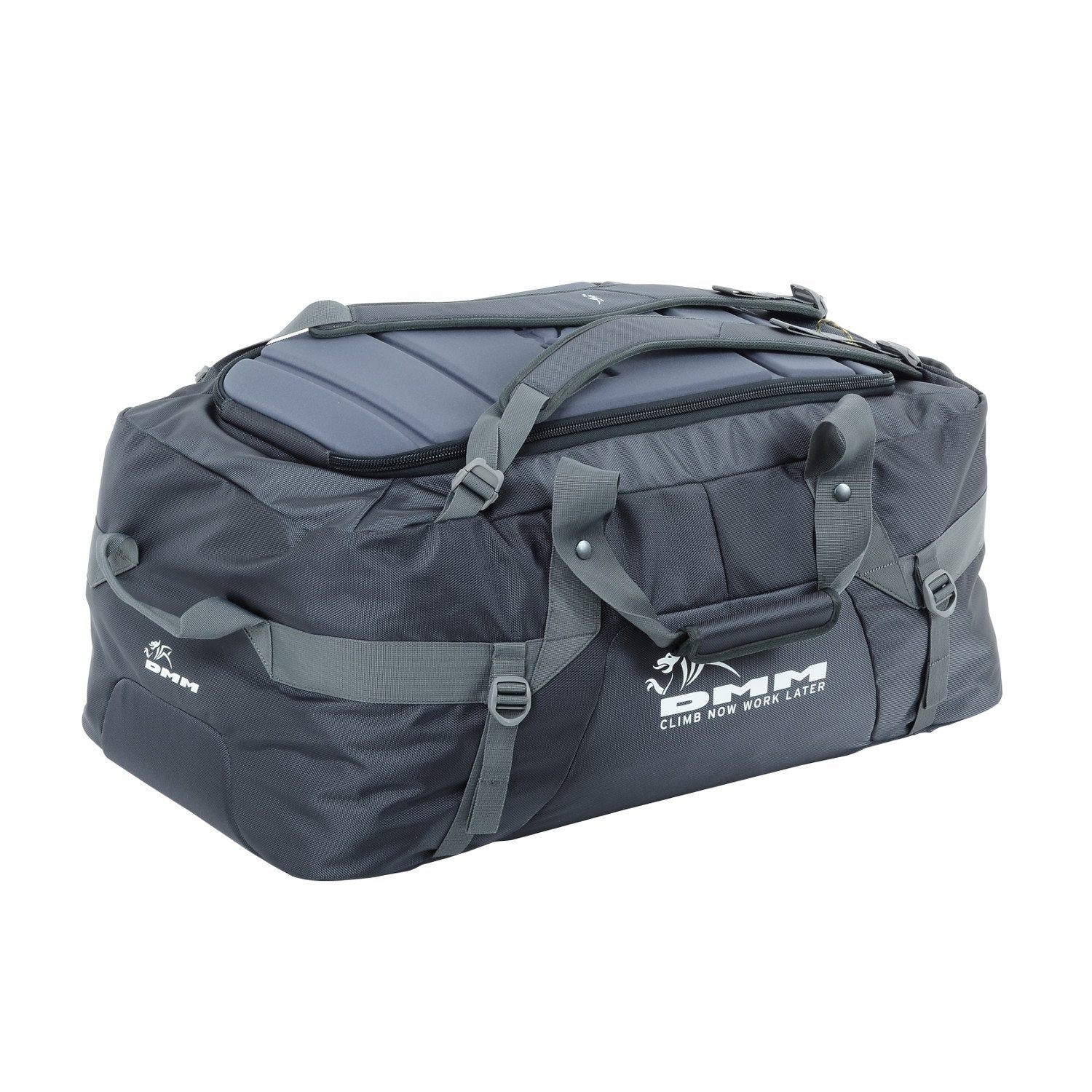 DMM Void Duffel 100L shown flat in carry mode