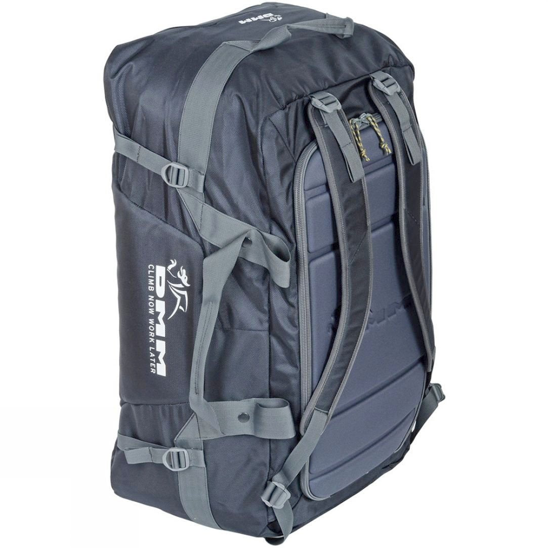 DMM Void Duffel 100L shown stood up in rucksack mode