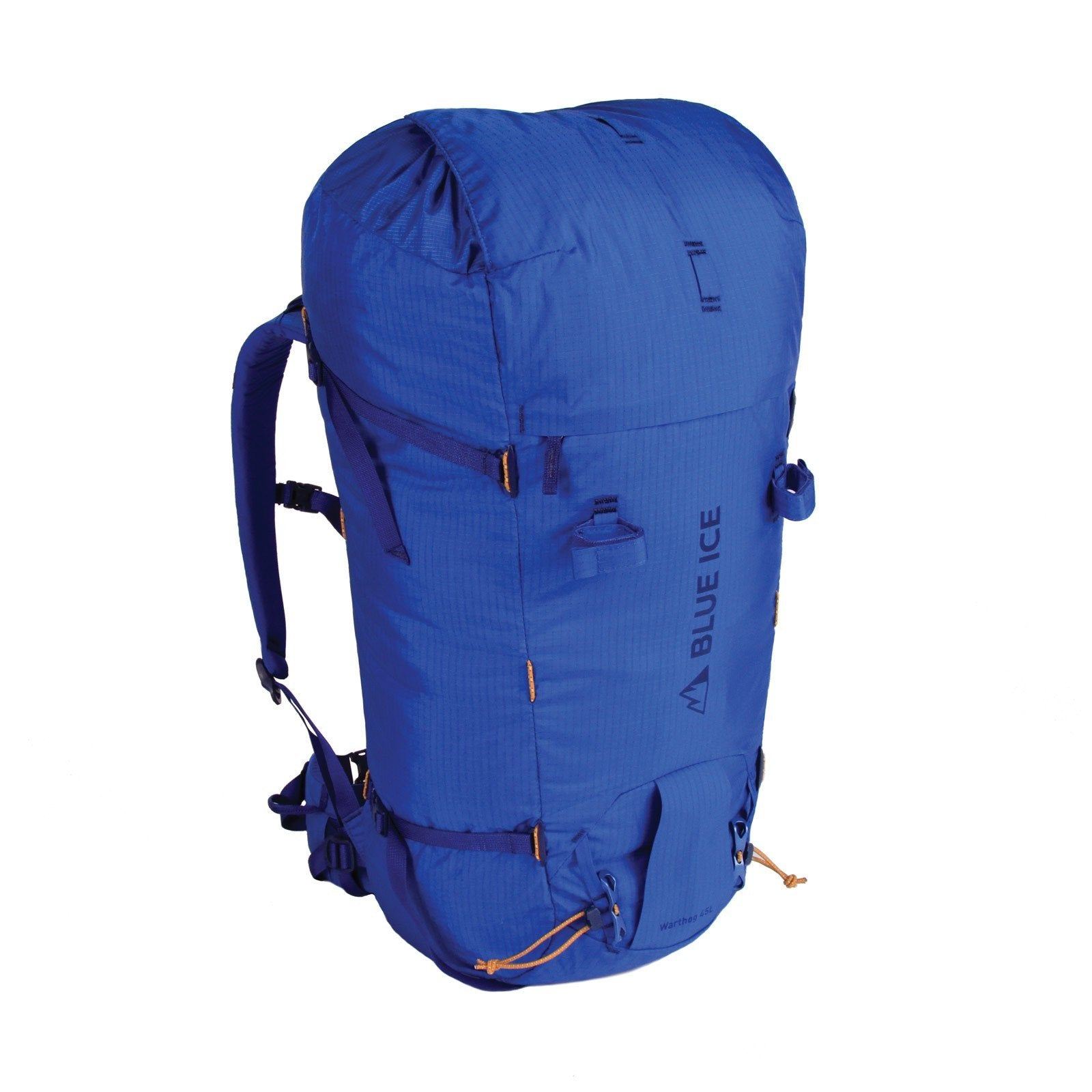 Blue Ice Warthog 45L rucksack, front/side view in blue colour