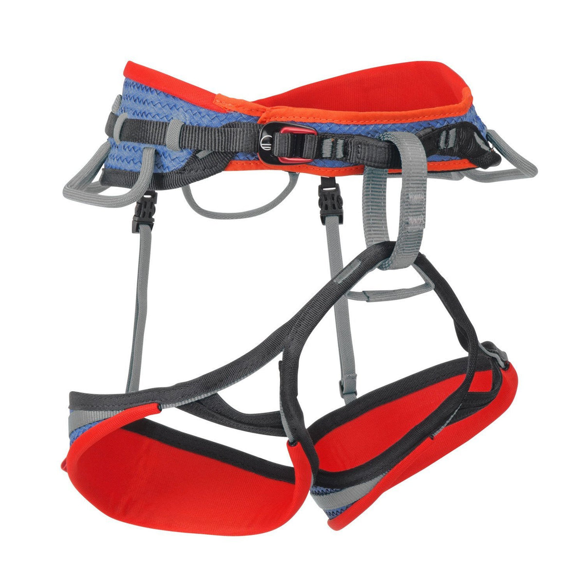 Wild Country Mission Sport climbing Harness, front/side view, in red, black and grey colours