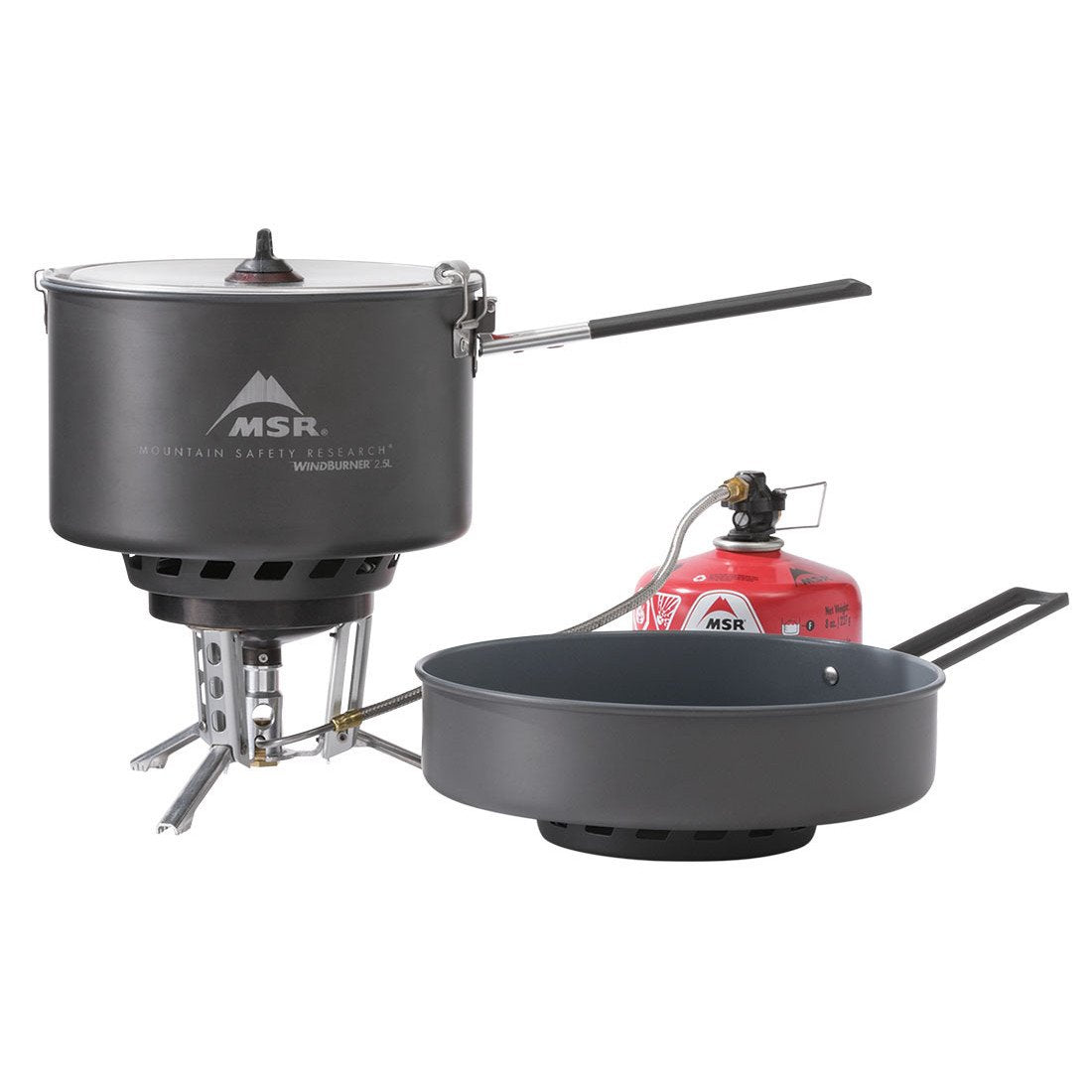 MSR Windburner Combo Camping Stove System, showing all included parts
