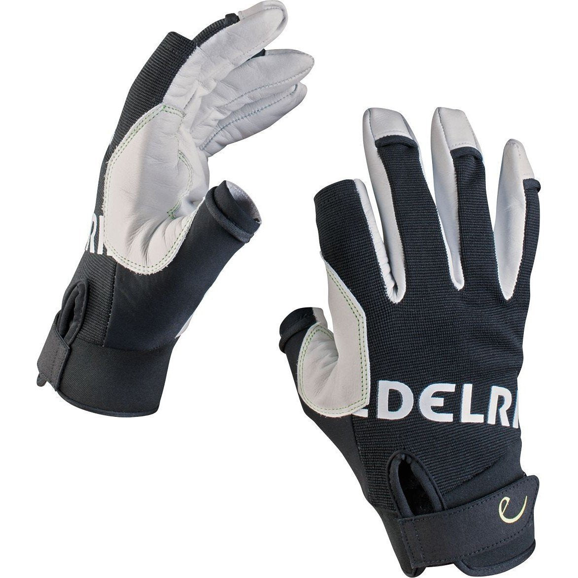 Edelrid Work Glove Closed, belay gloves shown on both hands in black and white colours