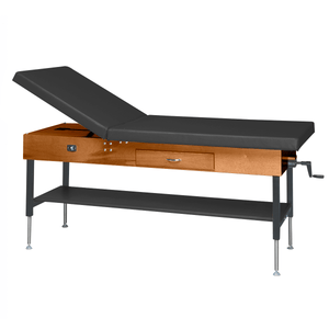 "Wooden Treatment Table - Manual Hi-Low Shelf - 78""L x 30""W x 25""-33""H dark black"