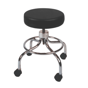 Mechanical Mobile Stool with no Back and Adjustable Height black