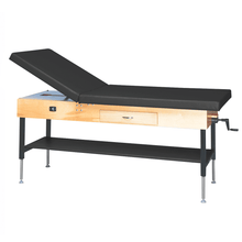 "Load image into Gallery viewer, Wooden Treatment Table - Manual Hi-Low Shelf - 78""L x 30""W x 25""-33""H drawer natural black"