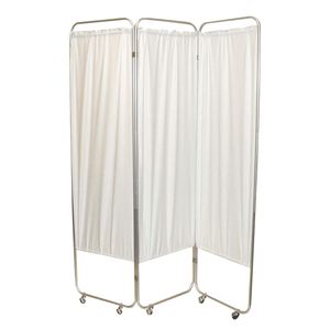 Standard Foldable Privacy Screen with Casters - Vinyl 3 pannel white