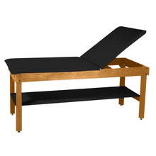 "Load image into Gallery viewer, Wooden Treatment Table - H-Brace Shelf, Adjustable Back Upholstered 72""L x 30""W x 30""H natural black"