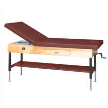"Load image into Gallery viewer, Wooden Treatment Table - Manual Hi-Low Shelf - 78""L x 30""W x 25""-33""H drawer natural chestnut"